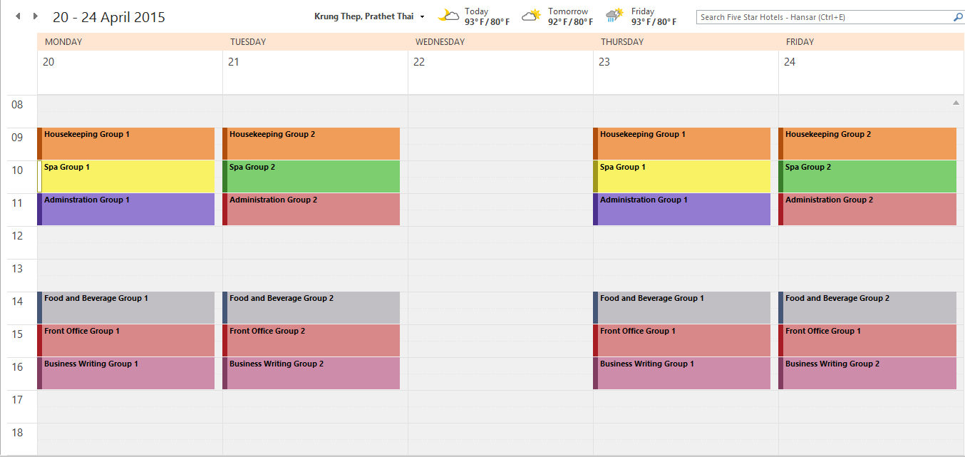 Four Day Schedule